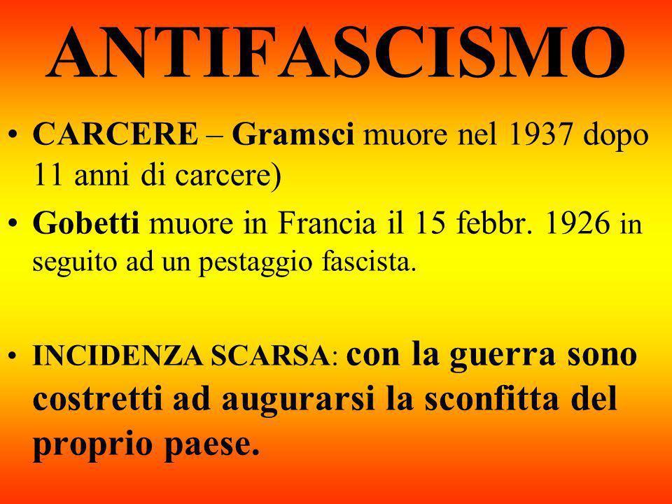 ANTIFASCISMO CARCERE – Gramsci muore nel 1937 dopo 11 anni di carcere) Gobetti muore in Francia il 15 febbr. 1926 in seguito ad un pestaggio fascista.