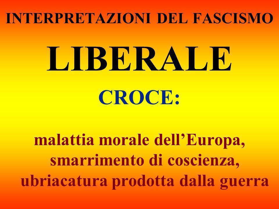 INTERPRETAZIONI DEL FASCISMO LIBERALE CROCE: malattia morale dellEuropa, smarrimento di coscienza, ubriacatura prodotta dalla guerra