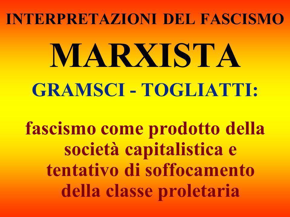 INTERPRETAZIONI DEL FASCISMO MARXISTA GRAMSCI - TOGLIATTI: fascismo come prodotto della società capitalistica e tentativo di soffocamento della classe