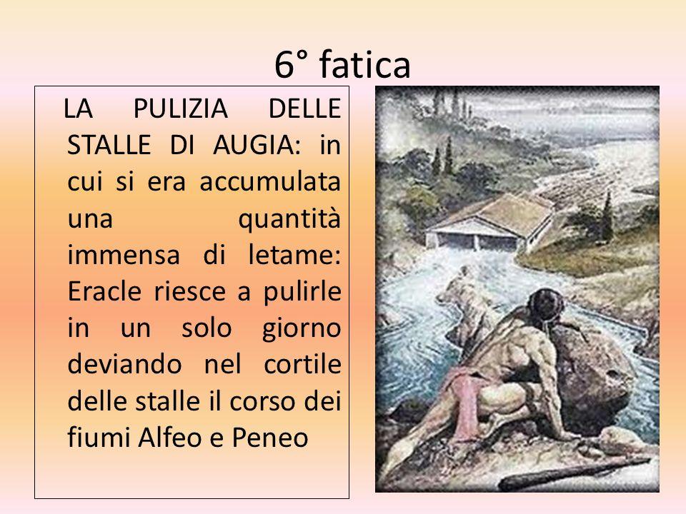 6° fatica LA PULIZIA DELLE STALLE DI AUGIA: in cui si era accumulata una quantità immensa di letame: Eracle riesce a pulirle in un solo giorno deviand