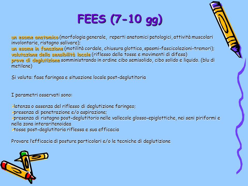 FEES (7-10 gg) un esame anatomico (morfologia generale, reperti anatomici patologici, attività muscolari involontarie, ristagno salivare); un esame in