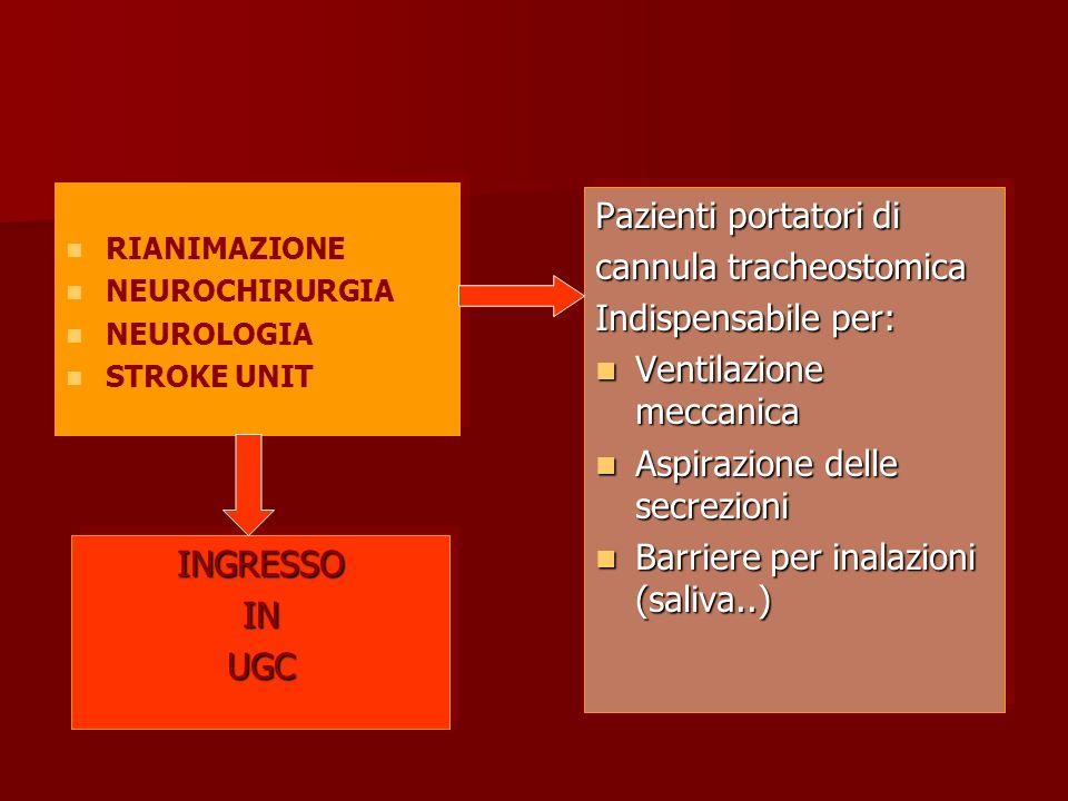 RIANIMAZIONE NEUROCHIRURGIA NEUROLOGIA STROKE UNIT RIANIMAZIONE NEUROCHIRURGIA NEUROLOGIA STROKE UNIT INGRESSOINUGCINGRESSOINUGC Pazienti portatori di cannula tracheostomica Indispensabile per: Ventilazione meccanica Ventilazione meccanica Aspirazione delle secrezioni Aspirazione delle secrezioni Barriere per inalazioni (saliva..) Barriere per inalazioni (saliva..) Pazienti portatori di cannula tracheostomica Indispensabile per: Ventilazione meccanica Ventilazione meccanica Aspirazione delle secrezioni Aspirazione delle secrezioni Barriere per inalazioni (saliva..) Barriere per inalazioni (saliva..)
