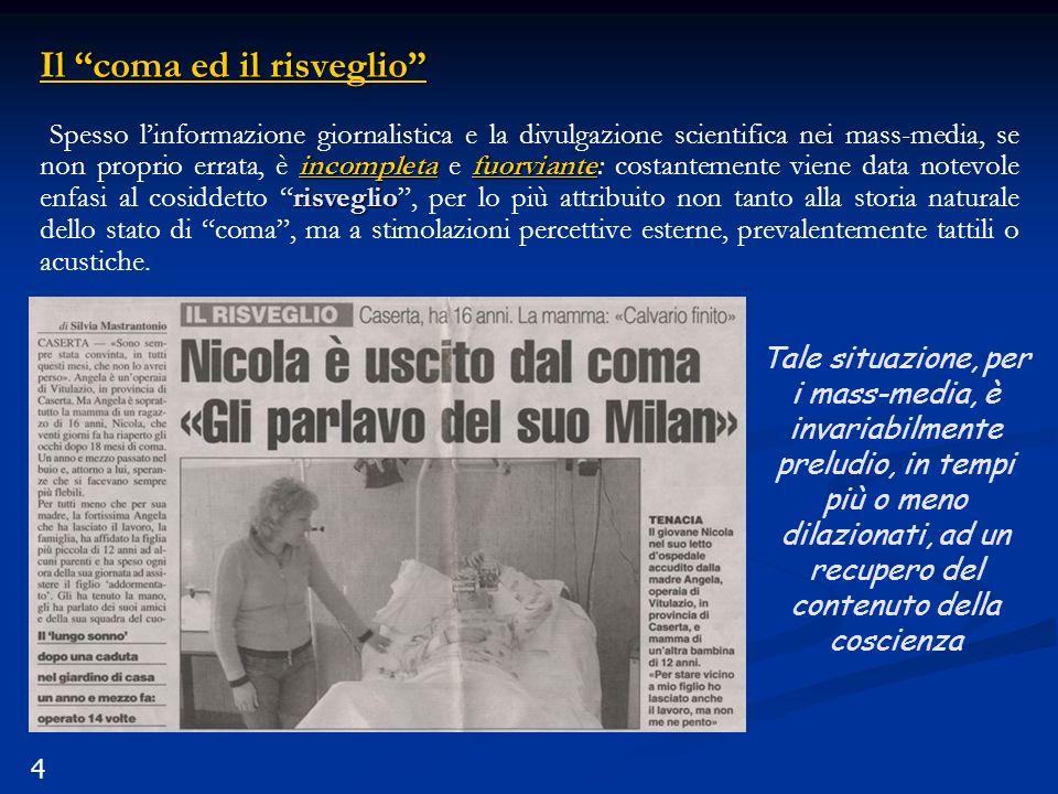 4 Il coma ed il risveglio incompletafuorviante risveglio Spesso linformazione giornalistica e la divulgazione scientifica nei mass-media, se non propr