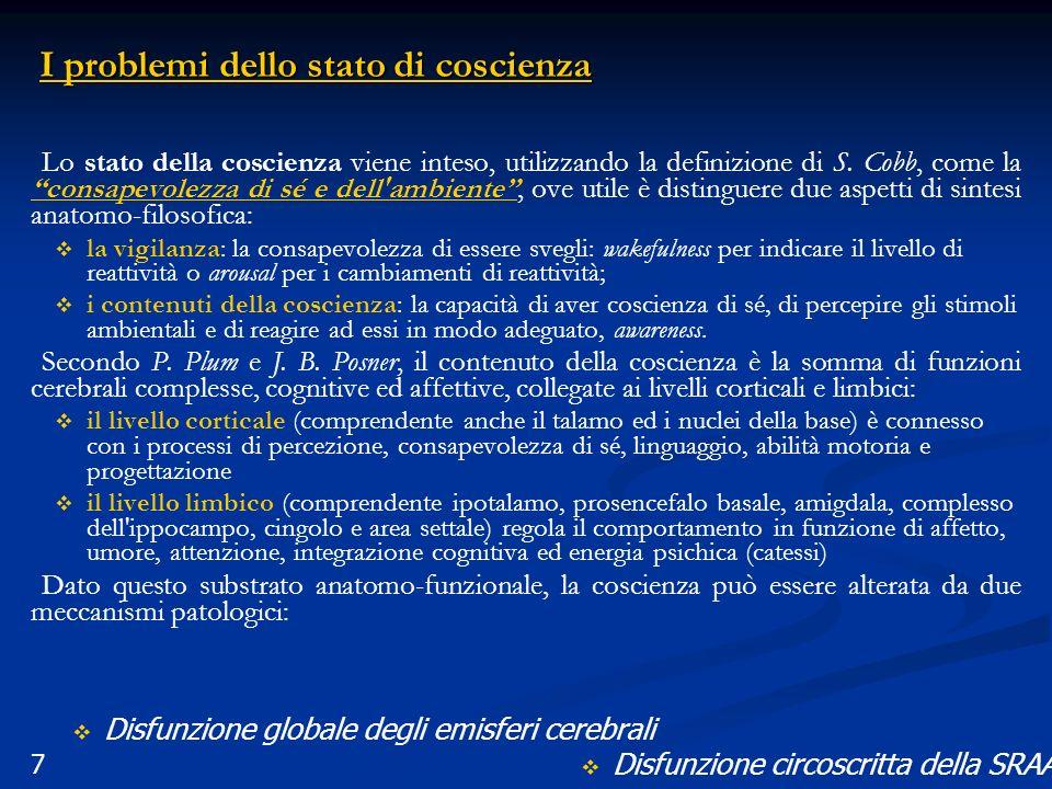7 I problemi dello stato di coscienza Lo stato della coscienza viene inteso, utilizzando la definizione di S. Cobb, come la consapevolezza di sé e del