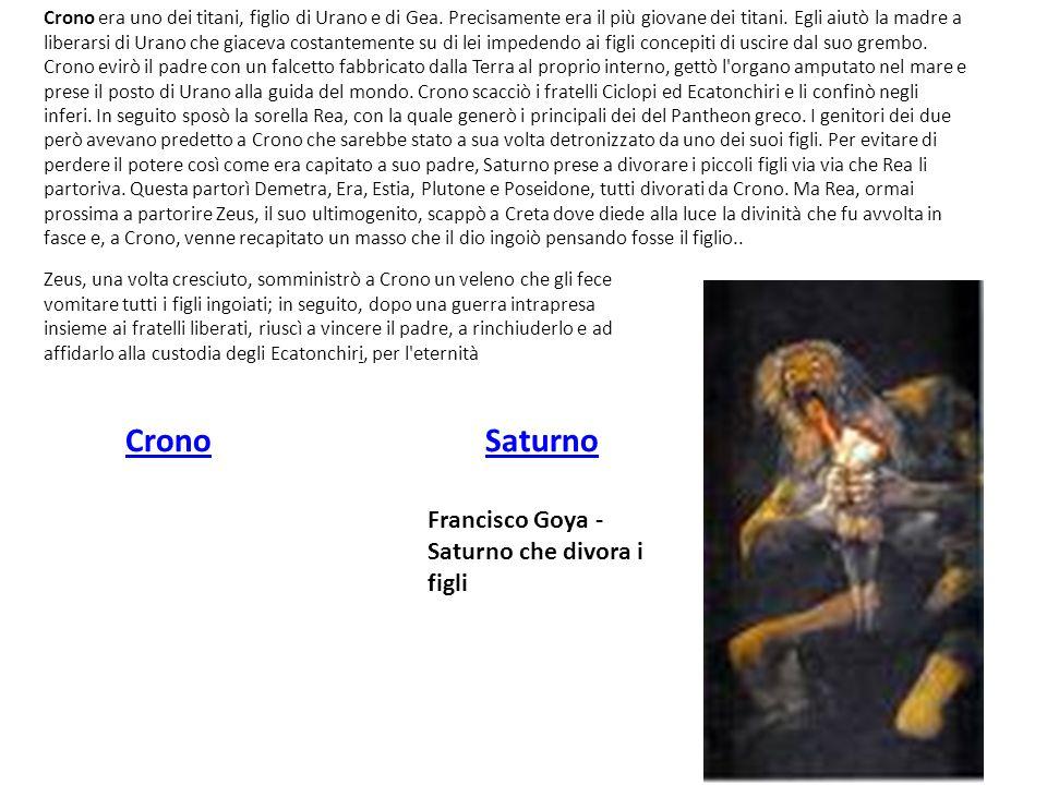 CronoSaturno Francisco Goya - Saturno che divora i figli Crono era uno dei titani, figlio di Urano e di Gea. Precisamente era il più giovane dei titan