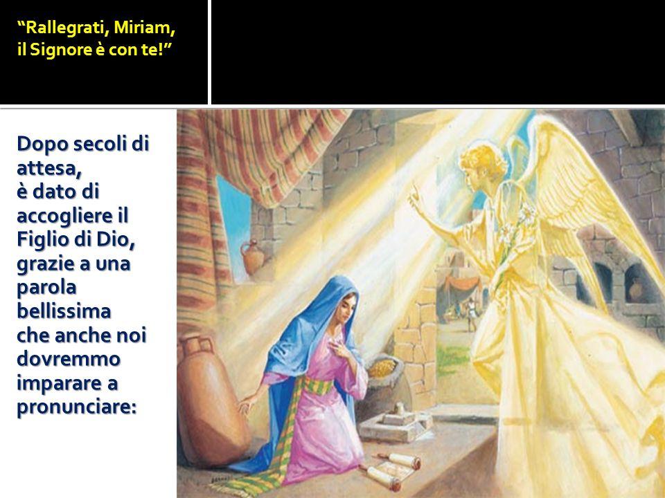 Rallegrati, Miriam, il Signore è con te! Dopo secoli di attesa, è dato di accogliere il Figlio di Dio, grazie a una parola bellissima che anche noi do