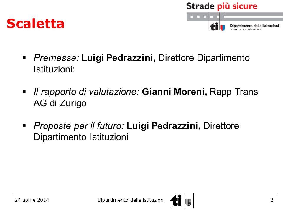 24 aprile 2014Dipartimento delle istituzioni3 Luigi Pedrazzini Direttore del Dipartimento Istituzioni