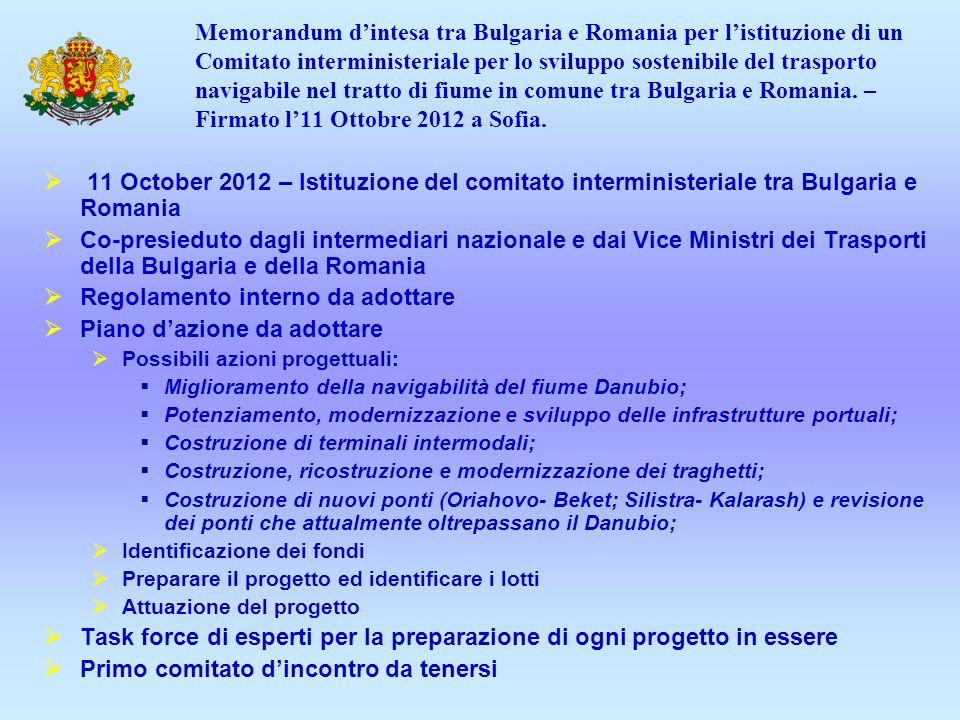 Memorandum dintesa tra Bulgaria e Romania per listituzione di un Comitato interministeriale per lo sviluppo sostenibile del trasporto navigabile nel tratto di fiume in comune tra Bulgaria e Romania.
