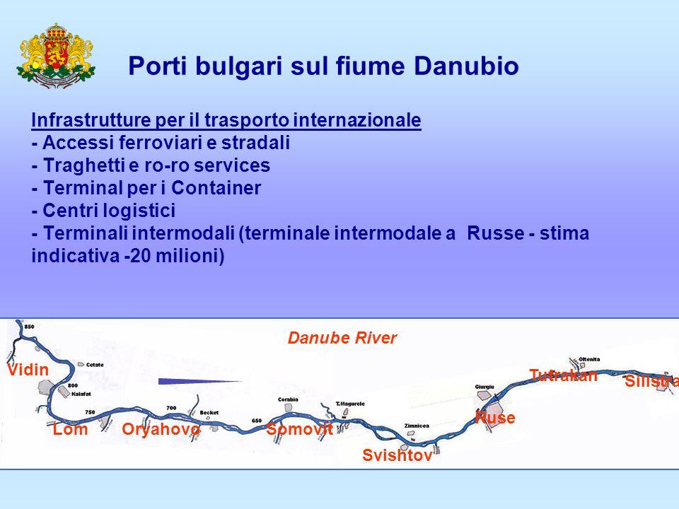 Porti bulgari sul fiume Danubio Infrastrutture per il trasporto internazionale - Accessi ferroviari e stradali - Traghetti e ro-ro services - Terminal per i Container - Centri logistici - Terminali intermodali (terminale intermodale a Russe - stima indicativa -20 milioni) Vidin LomOryahovoSomovit Svishtov Ruse Tutrakan Silistra Danube River