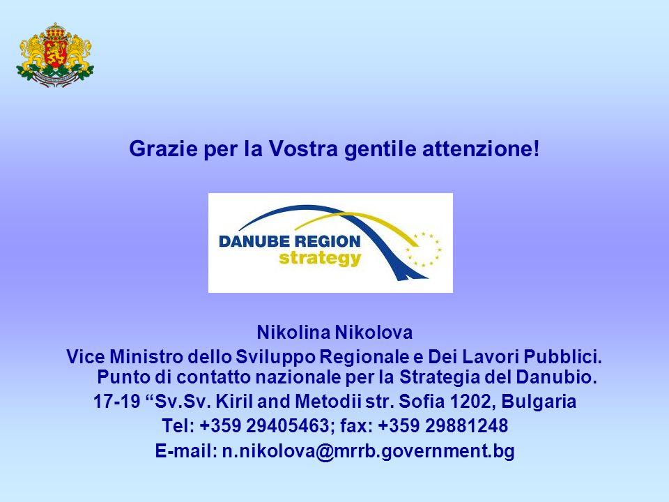 Grazie per la Vostra gentile attenzione! Nikolina Nikolova Vice Ministro dello Sviluppo Regionale e Dei Lavori Pubblici. Punto di contatto nazionale p
