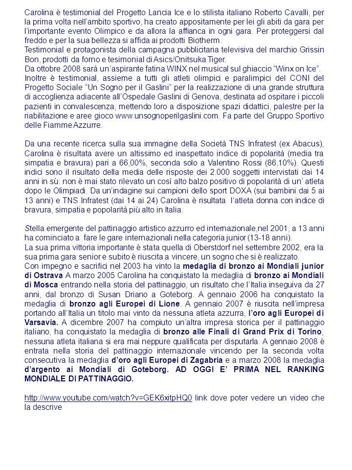 Carolina è testimonial del Progetto Lancia Ice e lo stilista italiano Roberto Cavalli, per la prima volta nellambito sportivo, ha creato appositamente