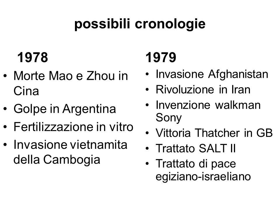 possibili cronologie 1978 Morte Mao e Zhou in Cina Golpe in Argentina Fertilizzazione in vitro Invasione vietnamita della Cambogia 1979 Invasione Afgh