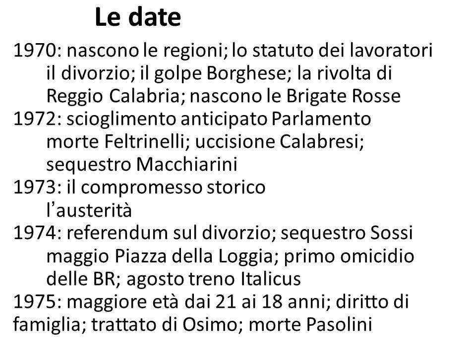 Le date 1970: nascono le regioni; lo statuto dei lavoratori il divorzio; il golpe Borghese; la rivolta di Reggio Calabria; nascono le Brigate Rosse 19