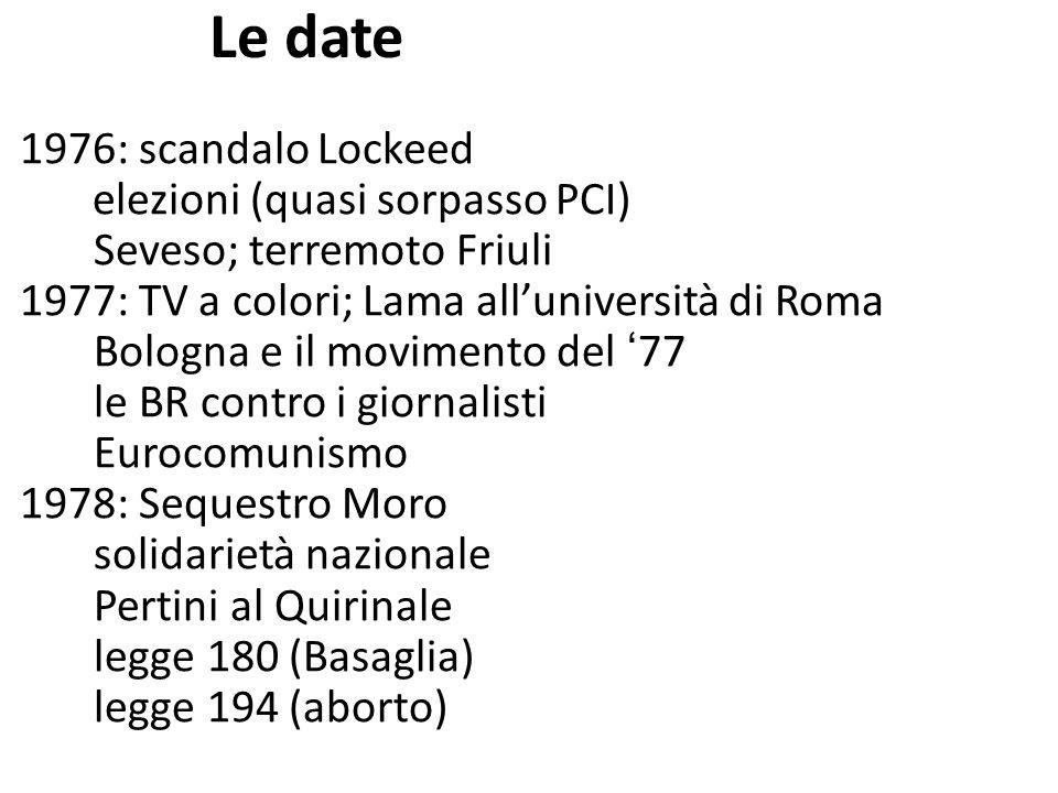 Le date 1976: scandalo Lockeed elezioni (quasi sorpasso PCI) Seveso; terremoto Friuli 1977: TV a colori; Lama alluniversità di Roma Bologna e il movim