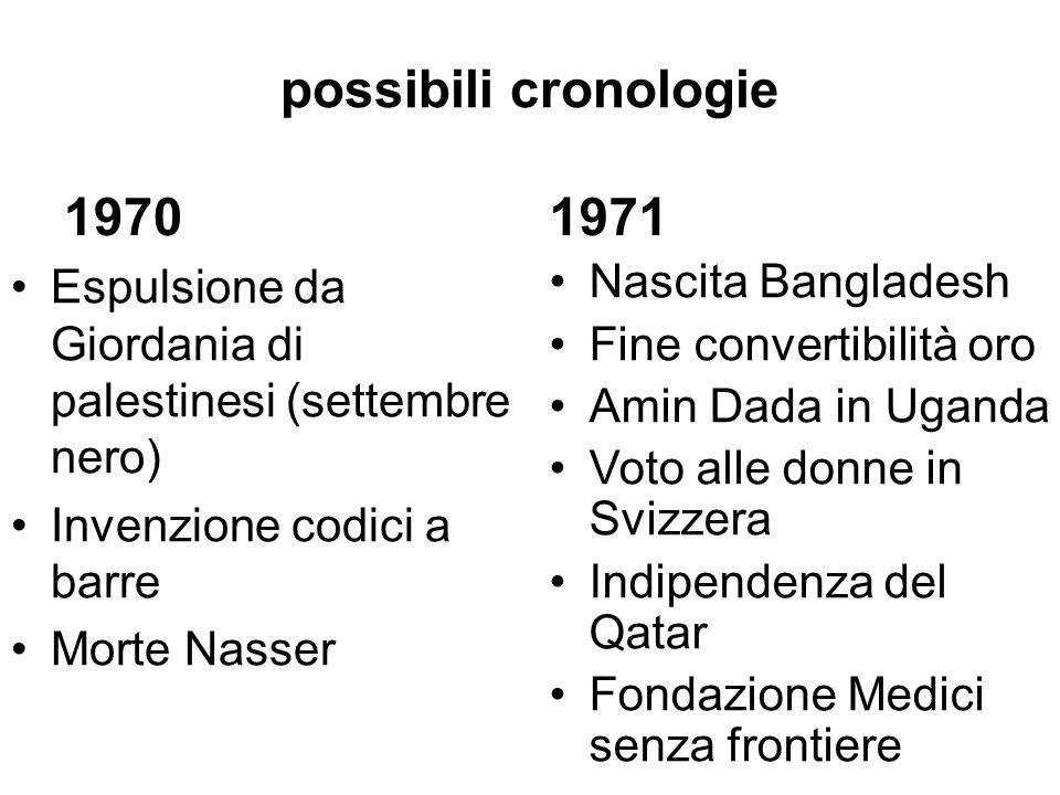possibili cronologie 1972 Olimpiadi di Monaco prime e-mail Domenica di sangue in Irlanda Visita Nixon in Cina Watergate 1973 Golpe in Cile Quarta guerra arabo- israeliana (Yom Kippur) Crisi petrolifera Fine dittatura in Grecia