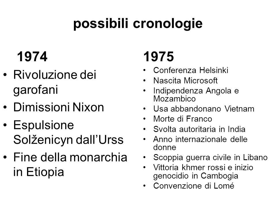 possibili cronologie 1974 Rivoluzione dei garofani Dimissioni Nixon Espulsione Solženicyn dallUrss Fine della monarchia in Etiopia 1975 Conferenza Hel