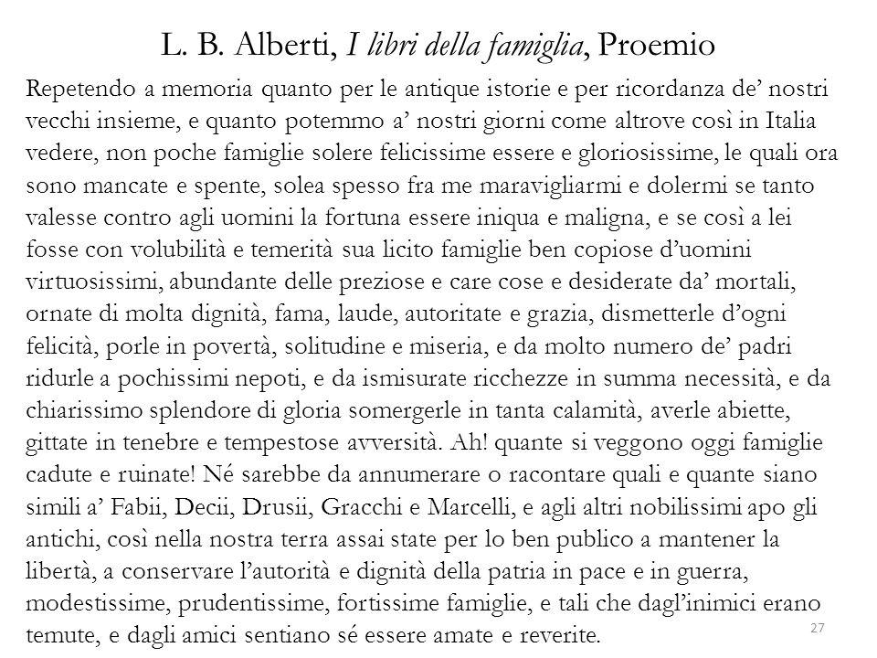 L. B. Alberti, I libri della famiglia, Proemio Repetendo a memoria quanto per le antique istorie e per ricordanza de nostri vecchi insieme, e quanto p