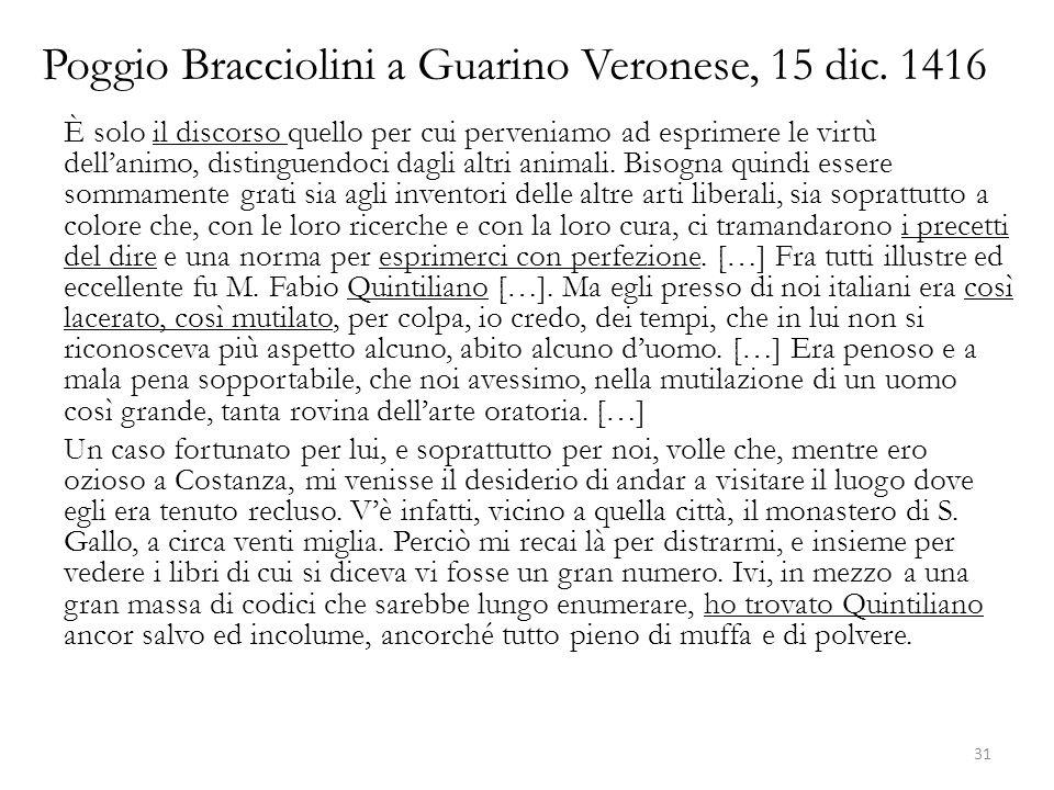 Poggio Bracciolini a Guarino Veronese, 15 dic. 1416 È solo il discorso quello per cui perveniamo ad esprimere le virtù dellanimo, distinguendoci dagli