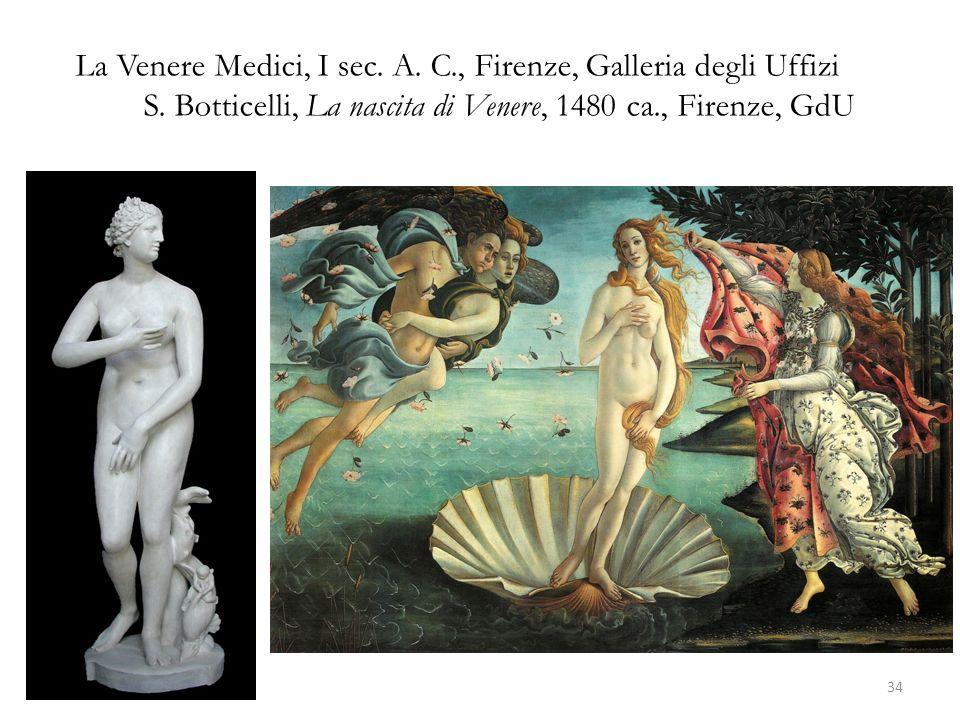 La Venere Medici, I sec. A. C., Firenze, Galleria degli Uffizi S. Botticelli, La nascita di Venere, 1480 ca., Firenze, GdU 34