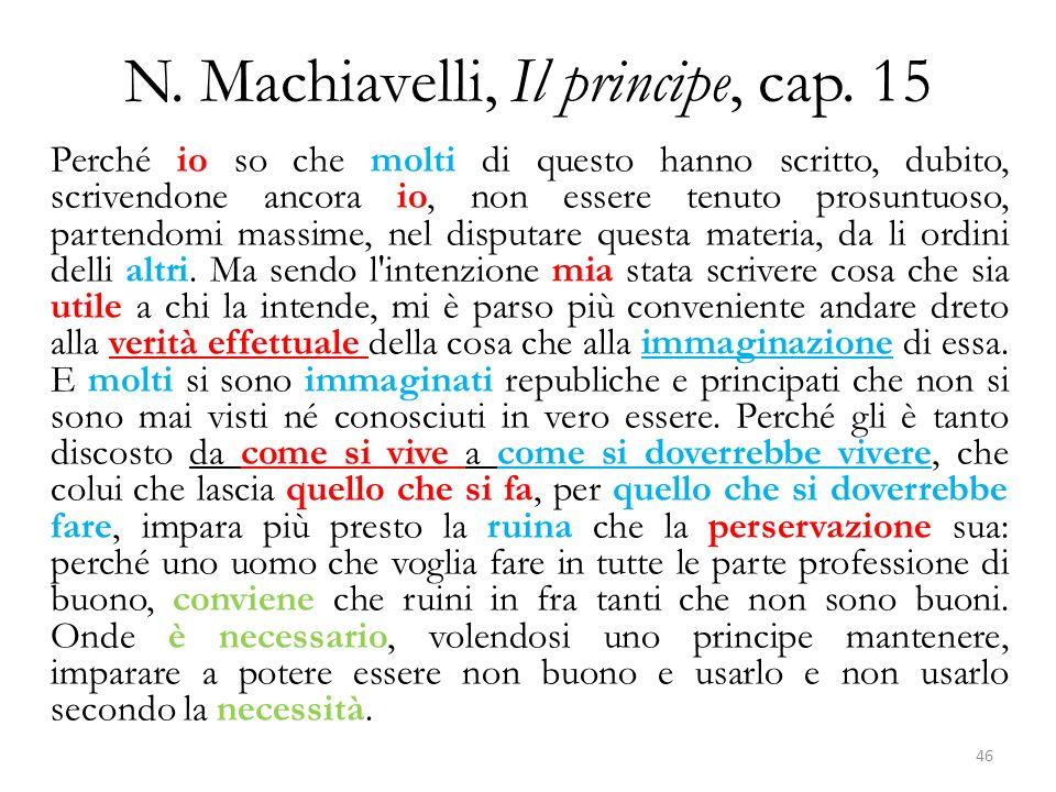 N. Machiavelli, Il principe, cap. 15 Perché io so che molti di questo hanno scritto, dubito, scrivendone ancora io, non essere tenuto prosuntuoso, par