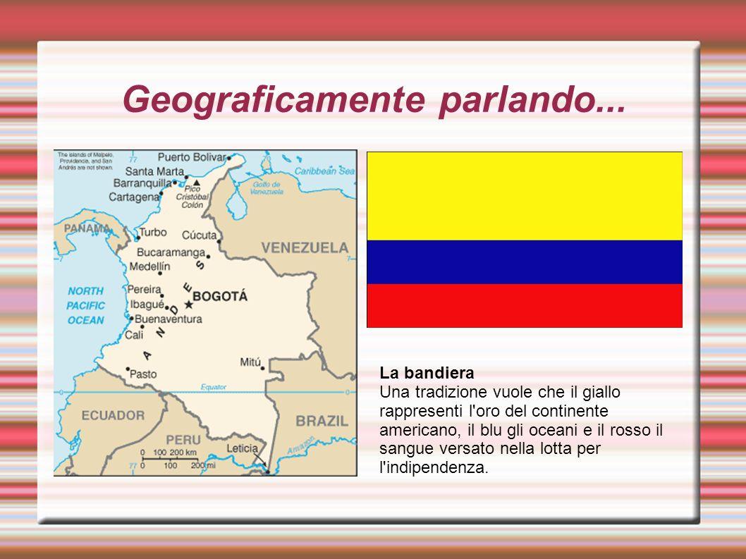 Geograficamente parlando... La bandiera Una tradizione vuole che il giallo rappresenti l'oro del continente americano, il blu gli oceani e il rosso il