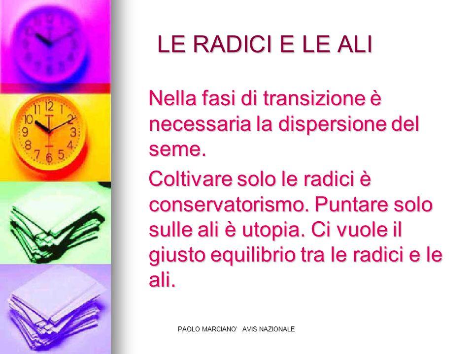 PAOLO MARCIANO AVIS NAZIONALE LE RADICI E LE ALI LE RADICI E LE ALI Nella fasi di transizione è necessaria la dispersione del seme.