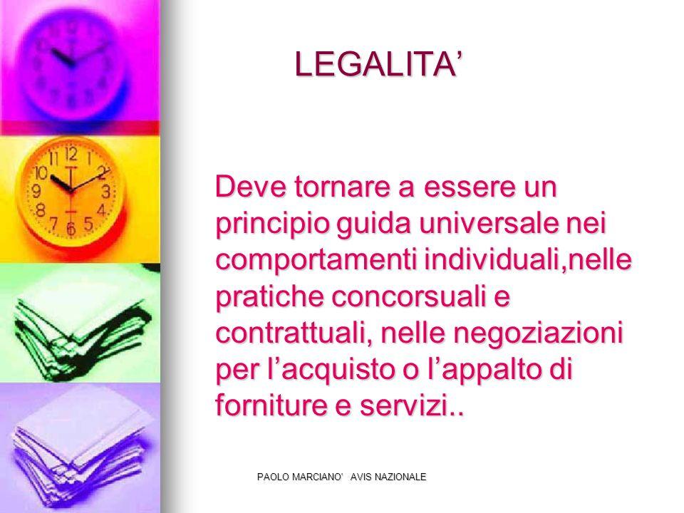 PAOLO MARCIANO AVIS NAZIONALE LEGALITA LEGALITA Deve tornare a essere un principio guida universale nei comportamenti individuali,nelle pratiche concorsuali e contrattuali, nelle negoziazioni per lacquisto o lappalto di forniture e servizi..