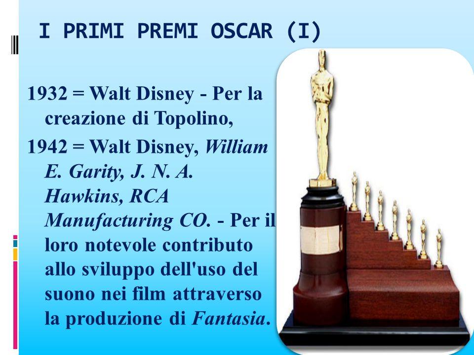 I PRIMI PREMI OSCAR (I) 1932 = Walt Disney - Per la creazione di Topolino, 1942 = Walt Disney, William E. Garity, J. N. A. Hawkins, RCA Manufacturing