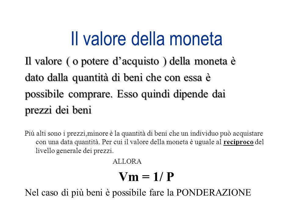 Il valore della moneta Il valore ( o potere dacquisto ) della moneta è dato dalla quantità di beni che con essa è possibile comprare. Esso quindi dipe