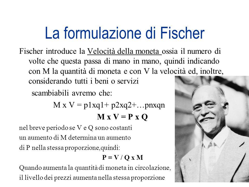 La formulazione di Fischer Fischer introduce la Velocità della moneta ossia il numero di volte che questa passa di mano in mano, quindi indicando con