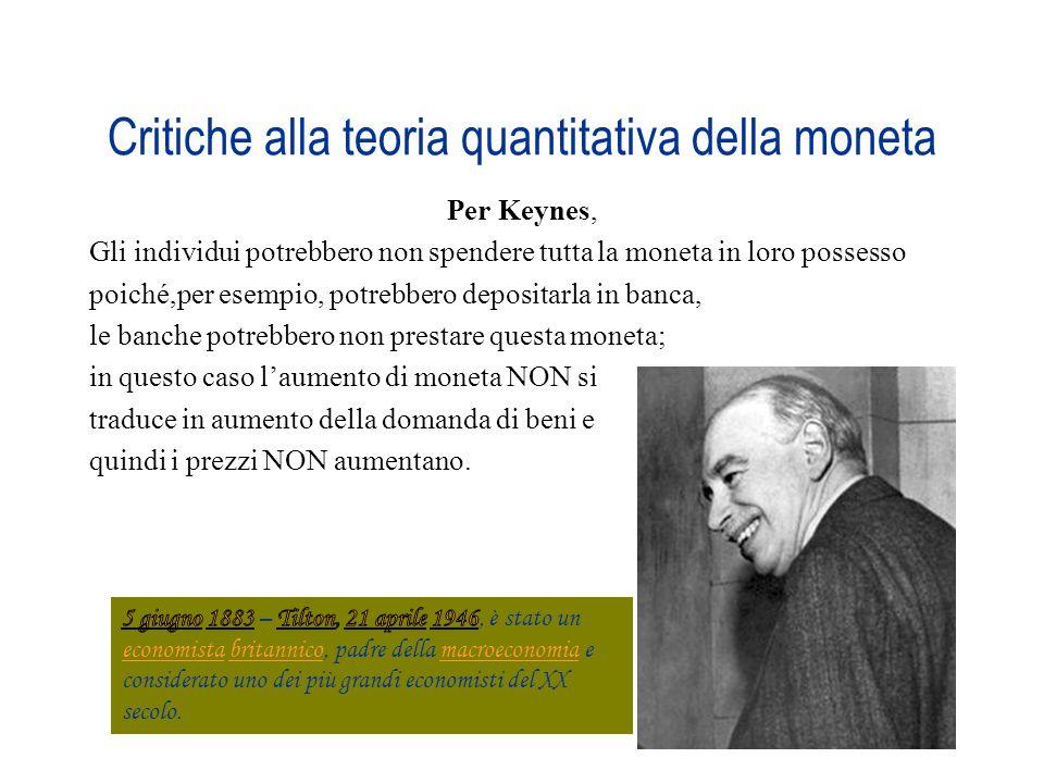 Critiche alla teoria quantitativa della moneta Per Keynes, Gli individui potrebbero non spendere tutta la moneta in loro possesso poiché,per esempio,