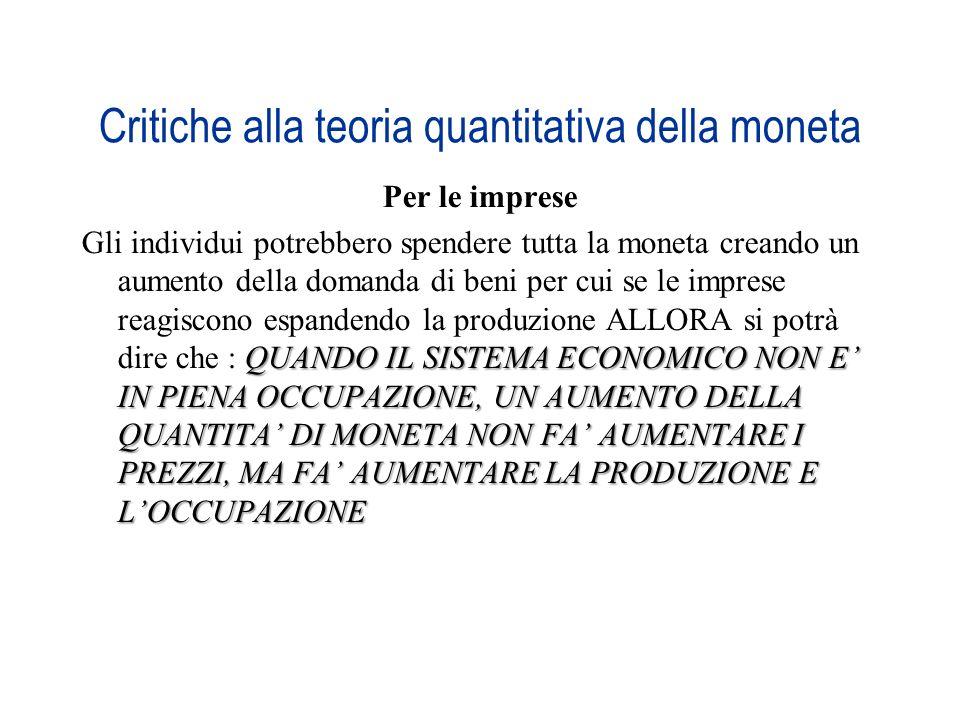Critiche alla teoria quantitativa della moneta Per le imprese QUANDO IL SISTEMA ECONOMICO NON E IN PIENA OCCUPAZIONE, UN AUMENTO DELLA QUANTITA DI MON
