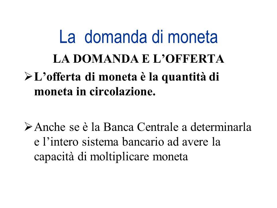 La domanda di moneta LA DOMANDA E LOFFERTA Lofferta di moneta è la quantità di moneta in circolazione. Anche se è la Banca Centrale a determinarla e l