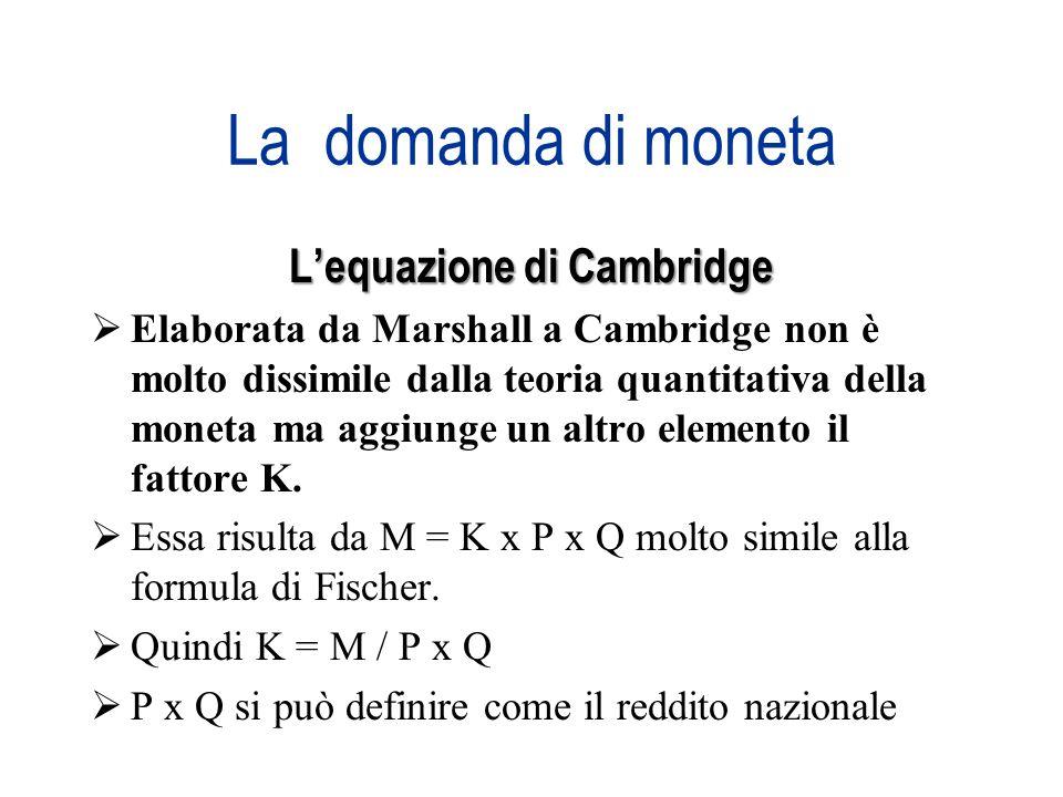 La domanda di moneta Lequazione di Cambridge Elaborata da Marshall a Cambridge non è molto dissimile dalla teoria quantitativa della moneta ma aggiung