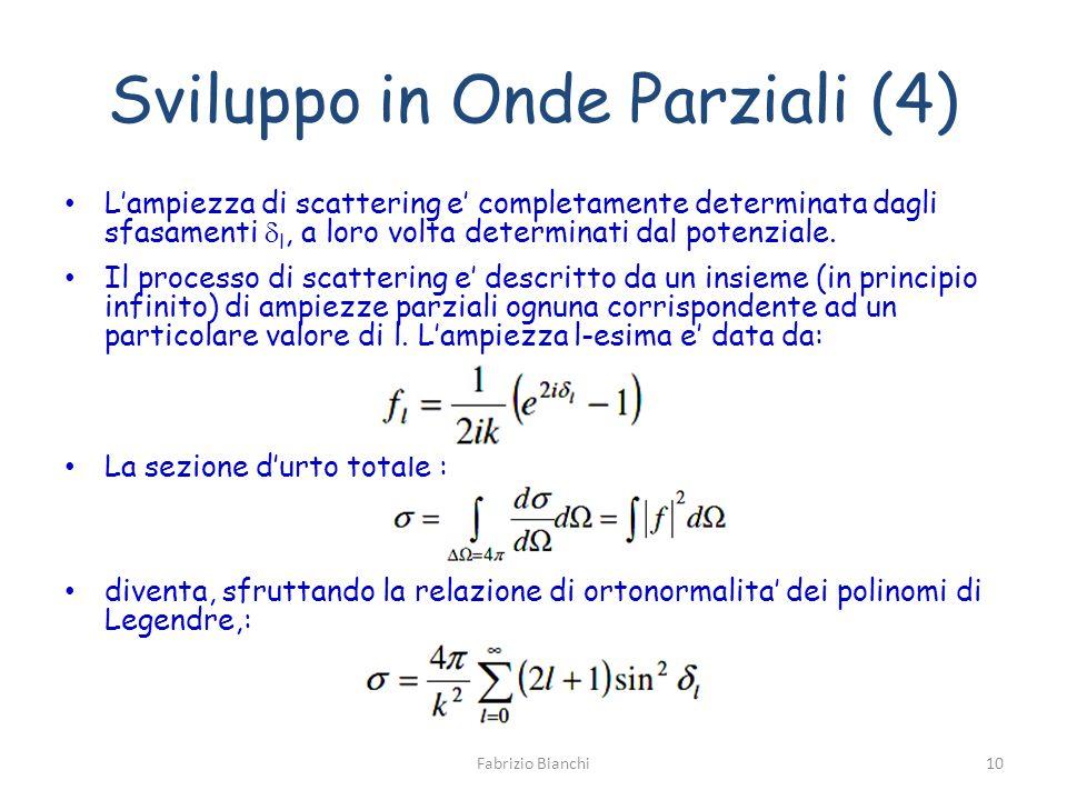 Sviluppo in Onde Parziali (4) Lampiezza di scattering e completamente determinata dagli sfasamenti l, a loro volta determinati dal potenziale. Il proc