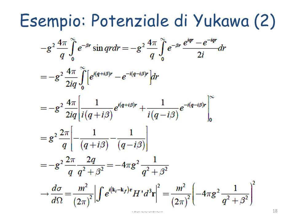 Esempio: Potenziale di Yukawa (2) Fabrizio Bianchi18