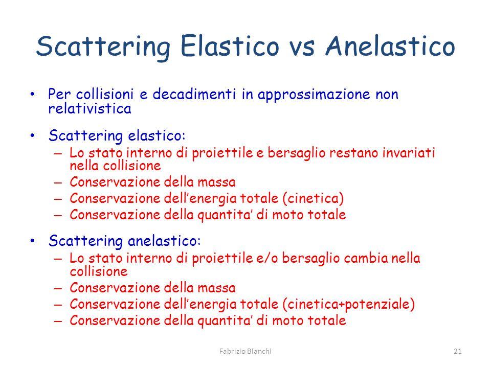 Scattering Elastico vs Anelastico Per collisioni e decadimenti in approssimazione non relativistica Scattering elastico: – Lo stato interno di proiett