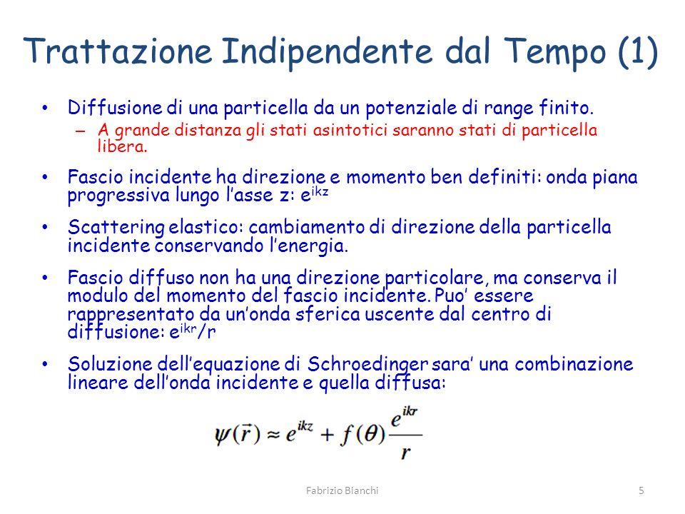 Trattazione Indipendente dal Tempo (1) Diffusione di una particella da un potenziale di range finito. – A grande distanza gli stati asintotici saranno