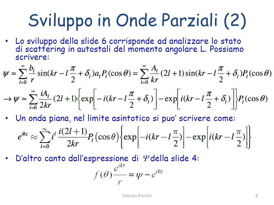 Sviluppo in Onde Parziali (2) Lo sviluppo della slide 6 corrisponde ad analizzare lo stato di scattering in autostali del momento angolare L. Possiamo