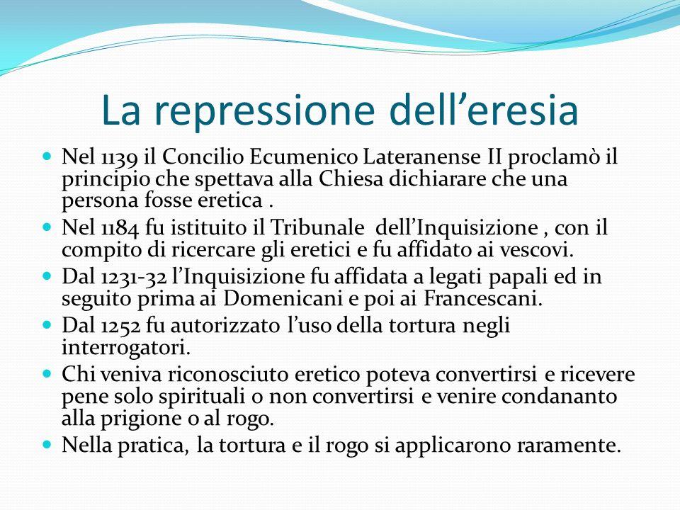 La repressione delleresia Nel 1139 il Concilio Ecumenico Lateranense II proclamò il principio che spettava alla Chiesa dichiarare che una persona foss