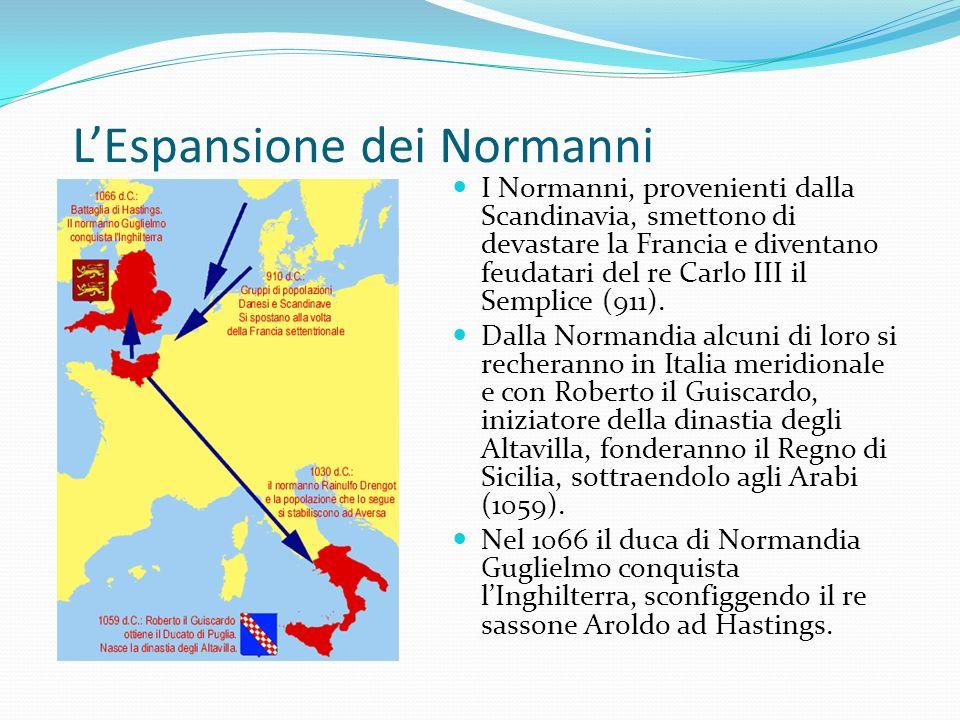 LEspansione dei Normanni I Normanni, provenienti dalla Scandinavia, smettono di devastare la Francia e diventano feudatari del re Carlo III il Semplic