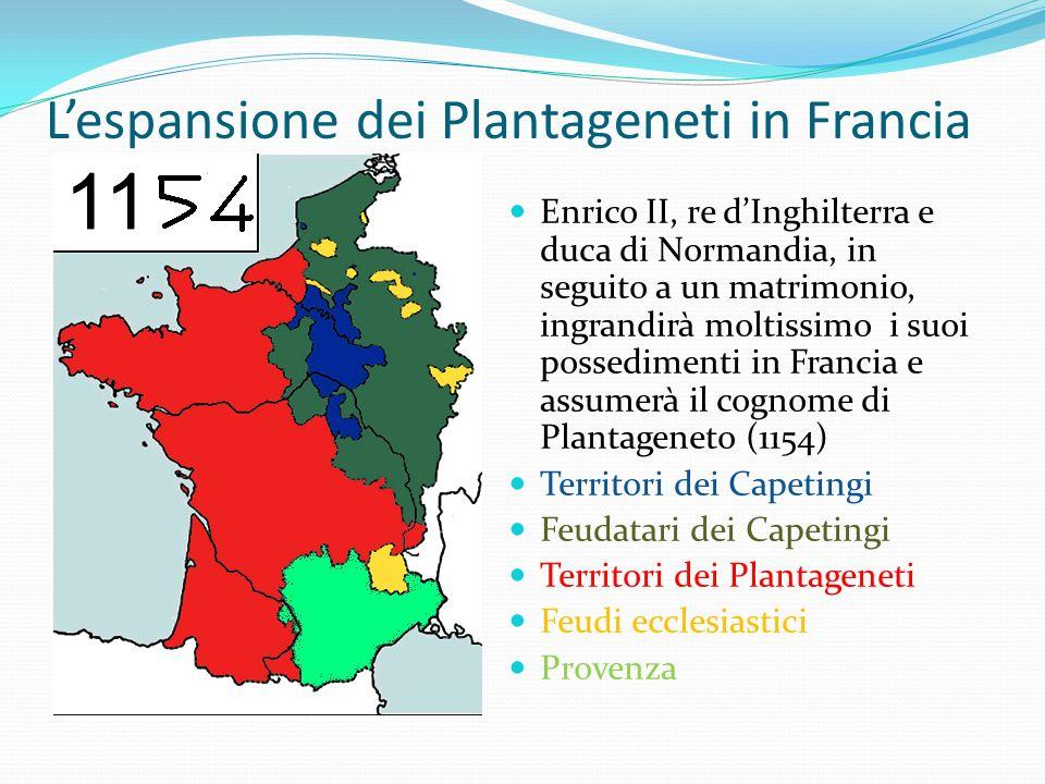 Lespansione dei Plantageneti in Francia Enrico II, re dInghilterra e duca di Normandia, in seguito a un matrimonio, ingrandirà moltissimo i suoi posse