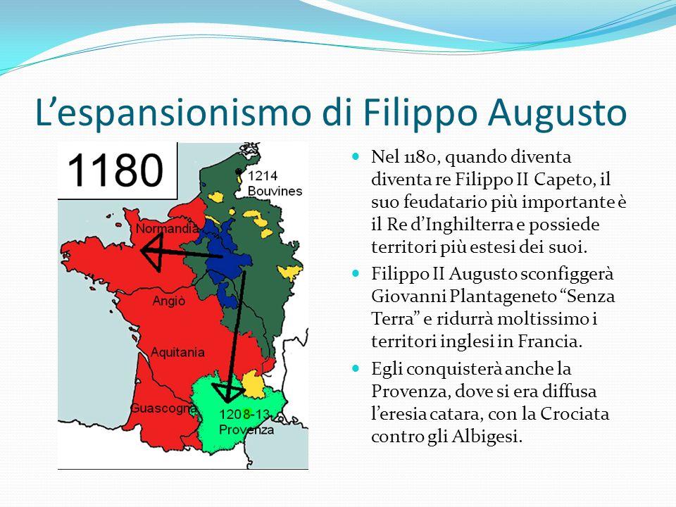 Lespansionismo di Filippo Augusto Nel 1180, quando diventa diventa re Filippo II Capeto, il suo feudatario più importante è il Re dInghilterra e possi
