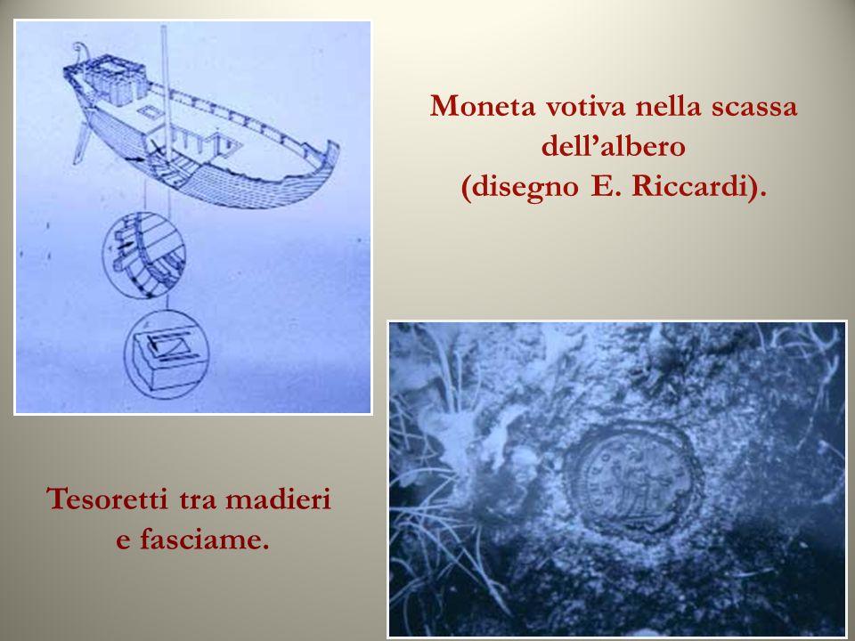 Moneta votiva nella scassa dellalbero (disegno E. Riccardi). Tesoretti tra madieri e fasciame.