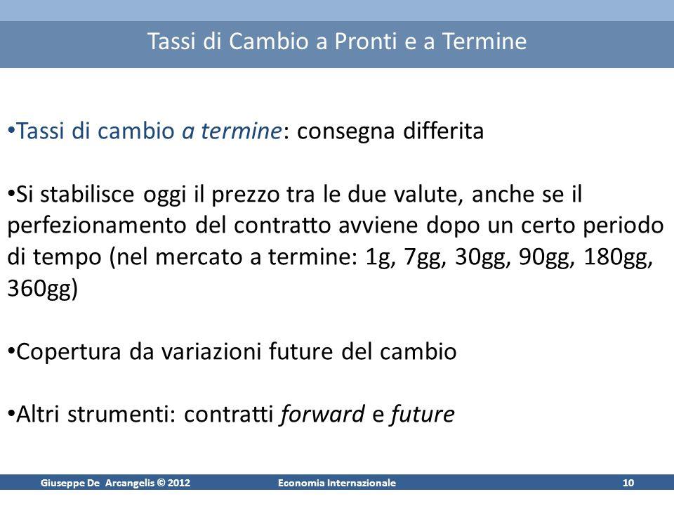 Giuseppe De Arcangelis © 2012Economia Internazionale10 Tassi di Cambio a Pronti e a Termine Tassi di cambio a termine: consegna differita Si stabilisc