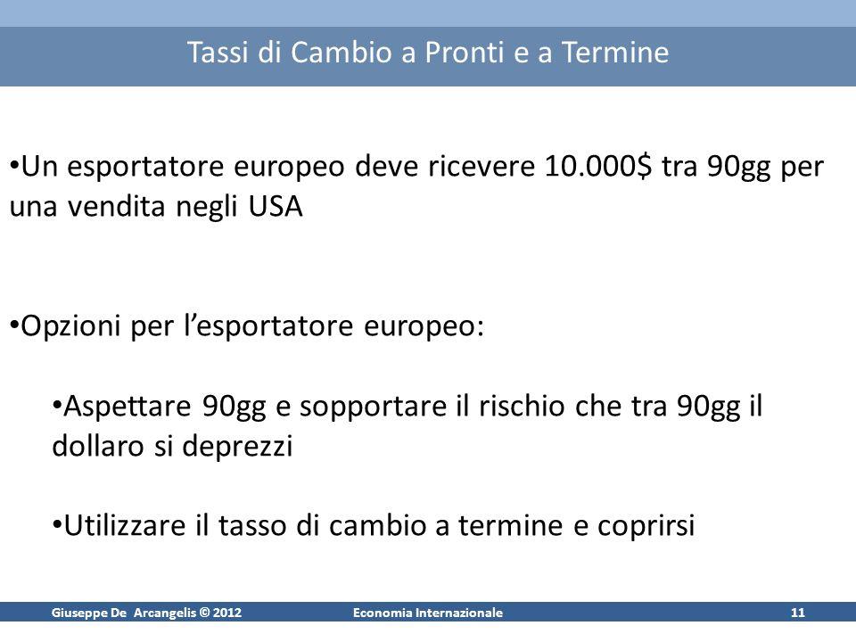 Giuseppe De Arcangelis © 2012Economia Internazionale11 Tassi di Cambio a Pronti e a Termine Un esportatore europeo deve ricevere 10.000$ tra 90gg per