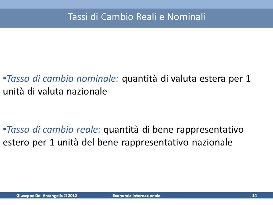 Giuseppe De Arcangelis © 2012Economia Internazionale14 Tassi di Cambio Reali e Nominali Tasso di cambio nominale: quantità di valuta estera per 1 unit
