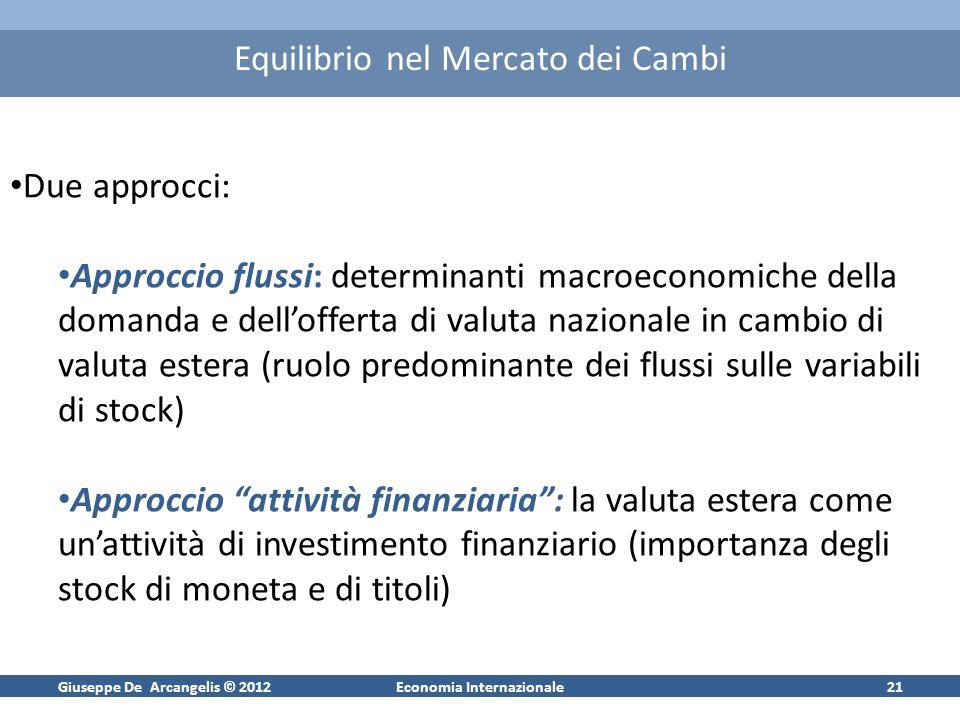 Giuseppe De Arcangelis © 2012Economia Internazionale21 Equilibrio nel Mercato dei Cambi Due approcci: Approccio flussi: determinanti macroeconomiche d