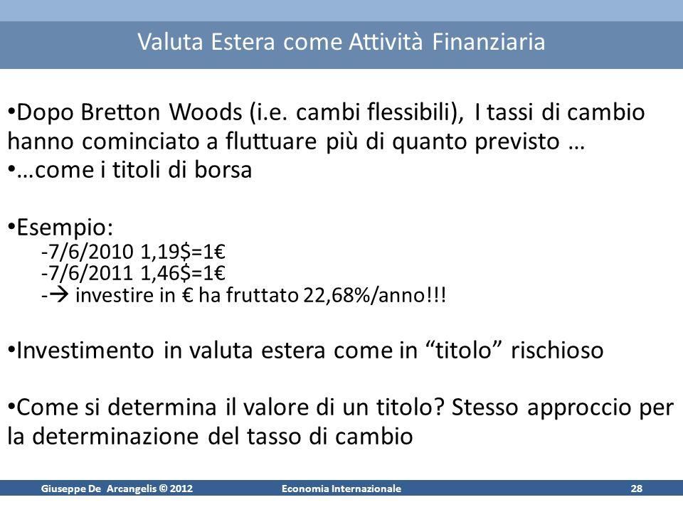 Giuseppe De Arcangelis © 2012Economia Internazionale28 Valuta Estera come Attività Finanziaria Dopo Bretton Woods (i.e. cambi flessibili), I tassi di