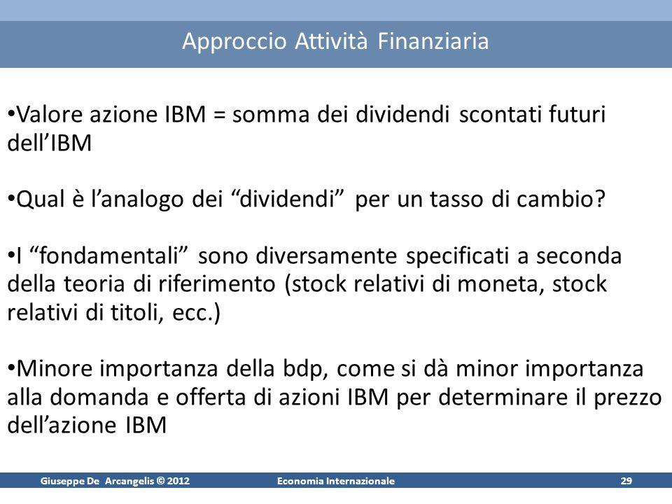Giuseppe De Arcangelis © 2012Economia Internazionale29 Approccio Attività Finanziaria Valore azione IBM = somma dei dividendi scontati futuri dellIBM